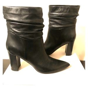 Marc fisher black leather wide leg boot/bootie